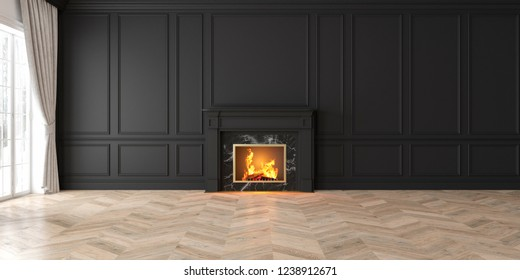 Classic empty black interior with fireplace, curtain, window, wall panels, 3D render, illustration, mockup, wide picture.