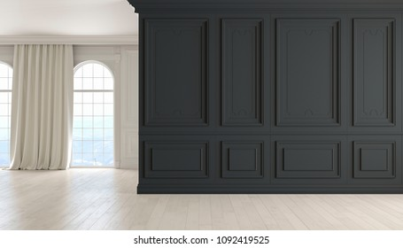Classic empty interior with black wall, wood floor, window and curtain. 3D render illustration.