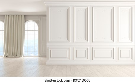 Classic empty interior with white wall, wood floor, window and curtain. 3D render illustration.