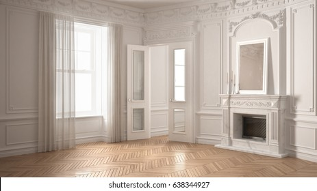 Classic empty room with big window, fireplace and herringbone wooden parquet floor, vintage white interior design, 3d illustration