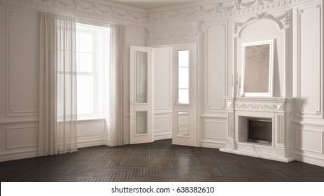 Classic empty room with big window, fireplace and herringbone wooden parquet floor, vintage white and gray interior design, 3d illustration