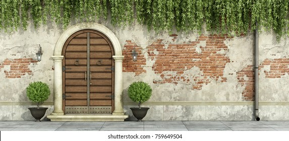 Classic facade with wooden doorway and grubge brick wall - 3D Rendering