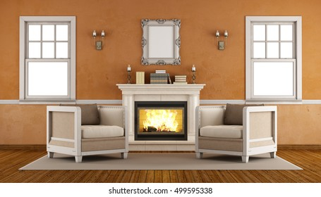 Classic fireplace in a retro living room with two armchairs and windows -3d rendering