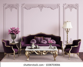 Classic furniture in classic interior with copy space.Pink walls with mouldings .Digital Illustration.3d rendering