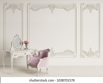 Classic furniture in classic interior with copy space.White walls with mouldings and ornated cornice.Digital Illustration.3d rendering