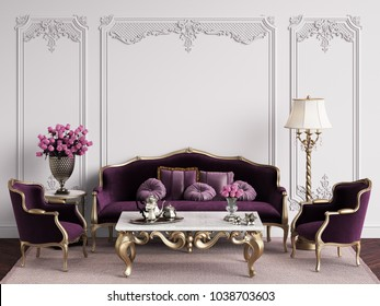 Classic furniture in classic interior with copy space.White walls with mouldings Digital Illustration.3d rendering