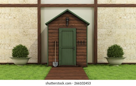 Classic garden with old shed ,stone wall and wooden floor - 3D Rendering