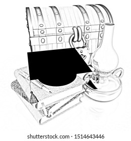 Classic global scene with graduation hat, kerosene lamp, chest and notebooks. 3d render. Pencil drawing.