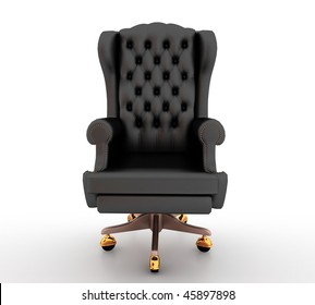 Classic glossy black chair, isolated on a white background
