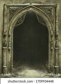 Classic Gothic arch with a dark background behind, acrylic on paper.