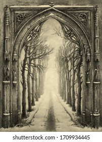 Classic Gothic arch with a tree alley behind, acrylic on paper and editing.