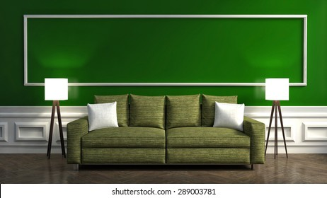 Classic green interior with sofa and lamp. 3d illustration