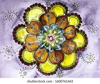 Classic happy flower mandala. The dabbing technique near the edges gives a soft focus effect due to the altered surface roughness of the paper.