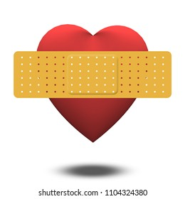 Classic Heart shape with bandaid. 3D rendering