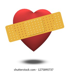 Classic Heart shape with band-aid. 3D rendering