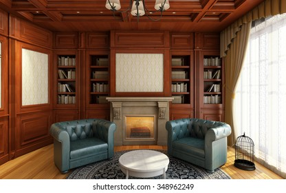 classic home office room with fireplace 3d Rendering