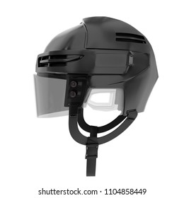 Classic Ice Hockey Helmet With Glass Visor Side View Sport Athlete Equipment Template
