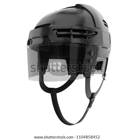Classic Ice Hockey Helmet With Glass Visor Perspective View Sport Athlete Equipment Template