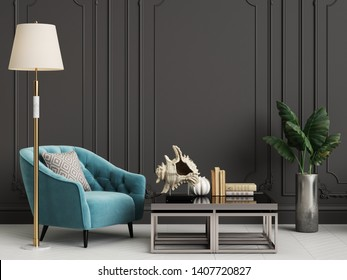 Classic interior with blue armchairs and floor lamp with copy space.Black walls with mouldings,ornated cornice. Floor parquet herringbone white color.Digital Illustration.3d rendering
