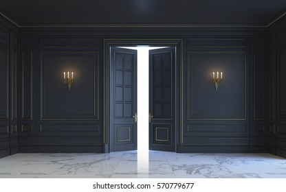A classic interior is in dark tones with marble floor. 3d rendering.