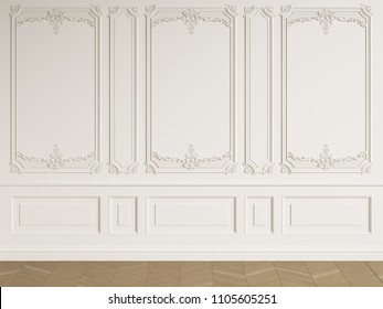 Classic interior empty room with copy space.White walls with mouldings. Floor parquet herringbone.Digital Illustration.3d rendering