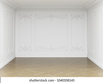 Classic interior empty room.Walls with mouldings and ornated cornice.Floor parquet herringbone.Digital Illustration.3d rendering