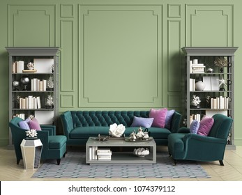 Classic interior in green colors with copy space.Sofa and chairs ,sidetables with lamps,table with decor,cabinets with books and decor. Interior mockup.Digital ilustration.3d rendering