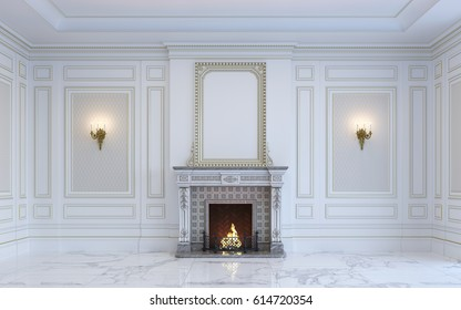 A classic interior is in light tones with marble floor and fireplace. 3d rendering.