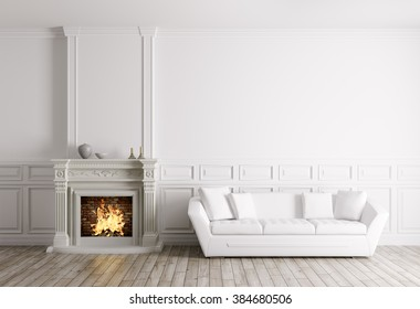 Classic interior of living room with fireplace and white sofa 3d render