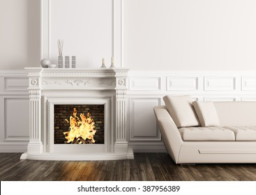 AuBergewohnlich Classic Interior Of Living Room With Fireplace And Beige Sofa 3d Render