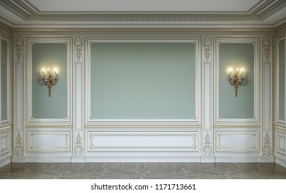 Classic interior in olive colors with wooden wall panels. 3d rendering.
