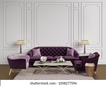 Classic interior in purple,pink and goldcolors.Sofa,chairs,sidetables with lamps,table with decor.White color walls with mouldings.Mockup,copy space.Digital ilustration.3d rendering