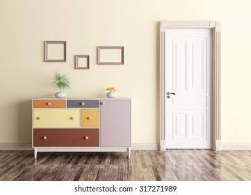 Classic interior of a room with door and chest of drawers