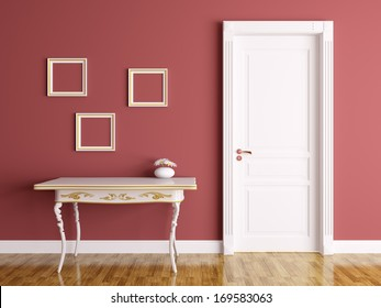 Classic interior of a room with door and table