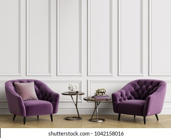 Classic interior with tufted armchairs.White walls with mouldings,floor parquet hirringbone.Copy space.Digital illustration.3d rendering