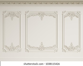 Classic interior wall with cornce and mouldings.Digital illustration.3d rendering