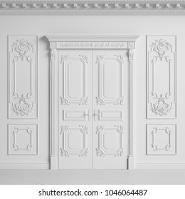 Classic interior wall with cornice and moldings.Doors with decor.Digital illustration.3d rendering