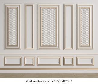 モールディングとクラシック内壁。フロアパーケットヘリンボーン。デジタルイラスト。3dレンダリング