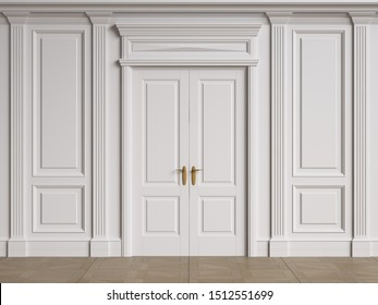 Classic interior walls with copy space.Walls with mouldings and pilasters. Classic door.Floor parquet.Digital Illustration.3d rendering