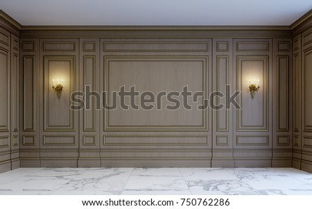 A Classic Interior With Wood Paneling And Marble Floor. 3d Rendering.