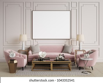 Classic interior.Sofa,chairs,sidetables with lamps,table with decor.White walls with mouldings. Floor parquet herringbone,rug with pattern.Mockup,copy space.Digital ilustration.3d rendering