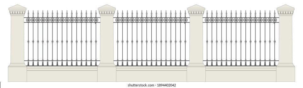Classic iron fence with stone pillars. Urban design. Isolated. White background.