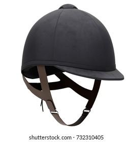 Classic Jockey helmet for horse-riding athlete. Perspective view. Velvet material. 3D render Illustration isolated on a white background.