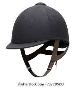 Classic Jockey helmet for horse-riding athlete. Perspective view. Velvet material. 3D render Illustration isolated on a white background.