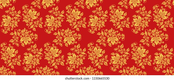 Classic khokhloma style decoration in red and gold colors. Russian national seamless pattern with floral decor elements. Hohloma ornament