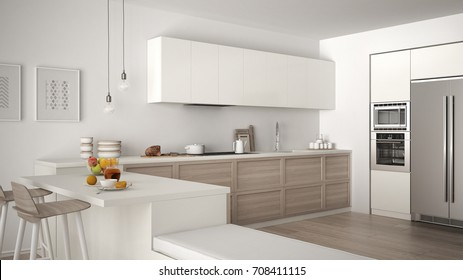 Gray White Kitchen Wooden Worktop High Res Stock Images Shutterstock
