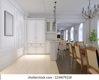 classic kitchen with wooden and White details, interior design. 3D rendering