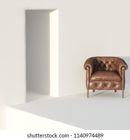 Classic leather armchair in white interior 3D render