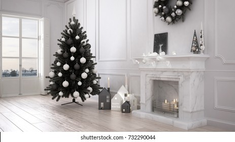 Classic living room with big window and fireplace, Christmas tree and decors, winter, new year scandinavian white interior design, 3d illustration