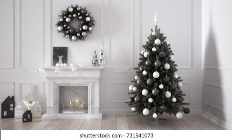 Classic living room with fireplace, Christmas tree and decors, winter, new year scandinavian white interior design, 3d illustration
